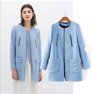 Zara light blue collarless coat